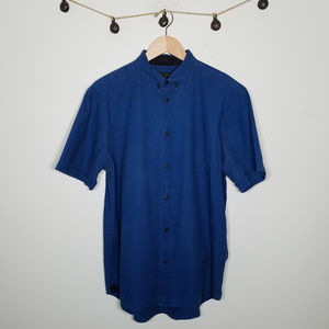 Rag & Bone Blue Denim Short Sleeve Button Up Large